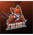 fox shot esport logo design vector image