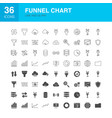 funnel chart line web glyph icons vector image