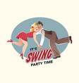 funny couple dancing swing vector image vector image