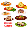 german cuisine meat dishes and desserts vector image vector image