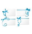Gift Card with Blue Ribbon and Bow Set vector image vector image