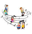happy children riding music notes vector image vector image