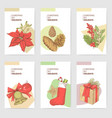 holly christmas vintage greeting cards templates vector image