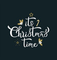 its christmas time greeting white calligraphy vector image vector image