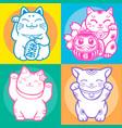 lucky cat maneki neko japan vector image