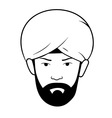 man s head with turban vector image vector image