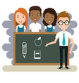 man teacher with students in the classroom vector image vector image