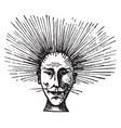 mans face with electrified hair vintage engraving vector image vector image