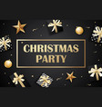 merry christmas and party on dark background with vector image vector image