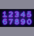 number symbols collection neon sign design vector image