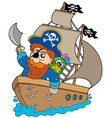 pirate sailing on ship vector image
