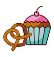 pretzel and cupcake food dessert bakery vector image vector image