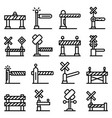 railroad barrier icons set outline style vector image vector image