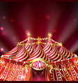 Red background with striped circus tent
