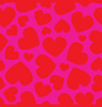 seamless pattern red hearts different vector image vector image