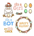 set elements with chicken and eggs vector image