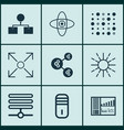Set of 9 artificial intelligence icons includes