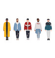 set of attractive hipster guys dressed in trendy vector image vector image