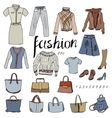 Set of casual woman clothes Objects on white vector image