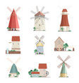 set of colorful windmills and watermills of vector image