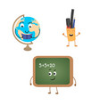 set of funny characters from blackboard globe vector image