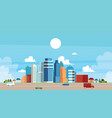 urban and suburban landscape with buildings and vector image vector image