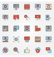 Video colorful icons set vector image vector image