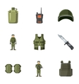 War icons set cartoon style vector image vector image