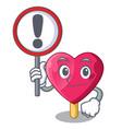 with sign chocolate heart on ice cream cartoon vector image