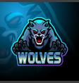 wolves esport logo mascot design vector image vector image