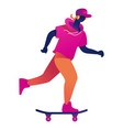 young male student or teen riding on skateboard in vector image