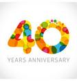 40 years anniversary circle colorful logo vector image vector image