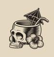 a skull with a cocktail straw vector image vector image