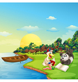 A worm a duck and a panda reading at the riverbank vector image vector image