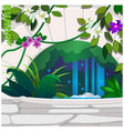 artificial garden tropical flowers and stone vector image
