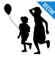 boy and girl silhouette running vector image vector image