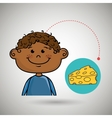 boy cheese food eat vector image