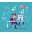 businessman working behind his computer vector image vector image