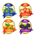 cartoon colorful berries labels set vector image vector image