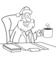 Cartoon Santa Claus sitting at a desk vector image vector image