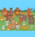 cartoon wild animal characters group vector image vector image