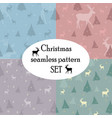 christmas seamless pattern set with deer vector image vector image