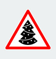 christmas tree with decorations warning triangle vector image vector image