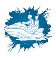 couple riding jet ski vector image vector image