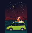 couple watching the stars in the sky vector image vector image