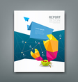 Cover Magazine origami paper crab design vector image