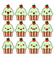 cup cake kawaii character cartoon cute face happy vector image