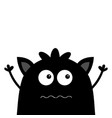 cute black silhouette monster face icon happy vector image