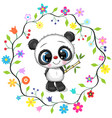 cute cartoon panda in a flowers frame vector image vector image