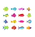 Cute fish icons set vector image vector image